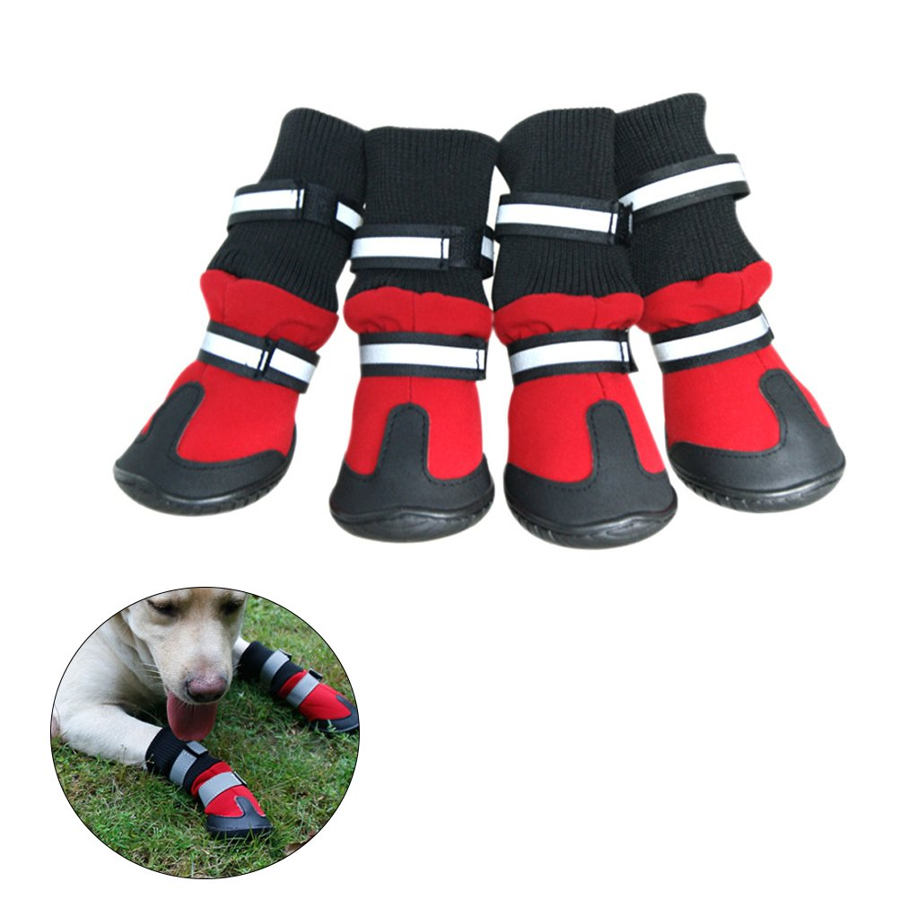 UEETEK Waterproof Pet Dog Boots,Paw Protectors Dog Shoes with Anti-slip Soles Rain Booties,Ideal for All-Weather Use,Size S,75 58 108 mm (L W H),Red