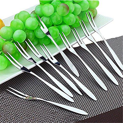 Oyster Fork (Fruit/Vegetable Forks - Hand Forged Stainless Steel Escargot Cocktail Forks, Bistro Style Forks Great Oyster Forks, Mussel Forks, Tasting Forks,Mussel Forks,Dessert Cake Forks, 10 Piece)