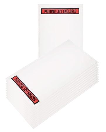 Amazon.com: Paquete de 100 sobres de la lista de embalaje 5 ...