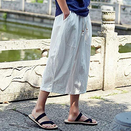 In P Saoye Pantaloni Bianca Giovane Lino Polpaccio Con Uomo Fashion Nen Da ngZqFT