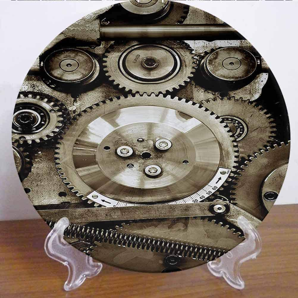 """10"""" Industrial Decor Ceramic Dinner Plate Pieces of Old Mechanism Close Up Gears View Grunge Antique Cogs Technical Decor Accessory for Dining Table Tabletop Home Decor"""