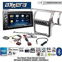 Volunteer Audio Axxera AVN6558BT Double Din Radio Install Kit with Navigation Bluetooth CD/DVD Player Fits 2003-2004 Infiniti G35 (Gun Metal) (Dual zone A/C controls)