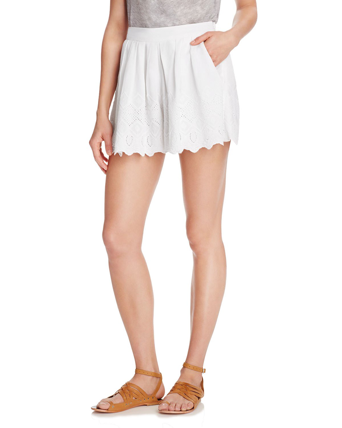 Free People Womens Lace Pleated Casual Shorts White 8