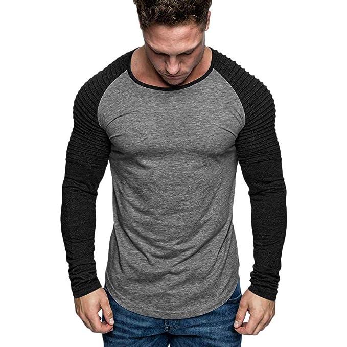 Amazon.com: Camisa de cuello redondo para hombre, informal ...