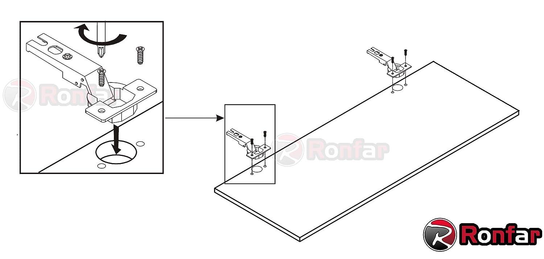 Schubladenf/ührungen 6,3 x 11.5 mm 50 St/ück f/ür Scharniere PZ RONFAR Flachkopf Euro Schrauben mit Poz-Antrieb