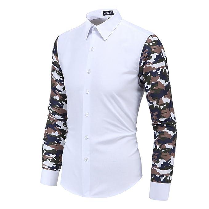 Moda Camisa para Hombre - Camuflaje Impreso Manga Larga Slim Fit Shirt Básica Casual Blusa con