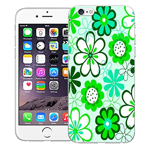 "Mobile Case Mate iPhone 6 4.7"" Silicone Coque couverture case cover Pare-chocs + STYLET - Green Daisy pattern (SILICON)"