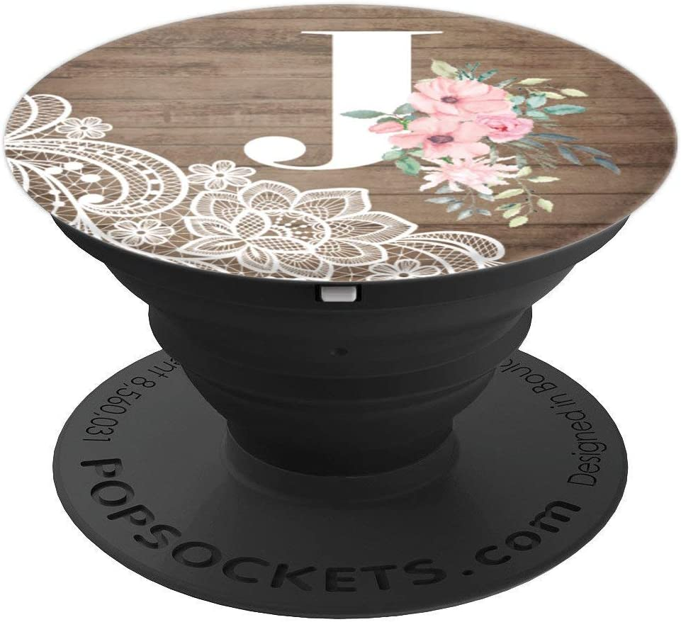 Amazon.com: Lace Country Pink Flowers Monogram Name Initial Letter J  PopSockets Grip and Stand for Phones and Tablets