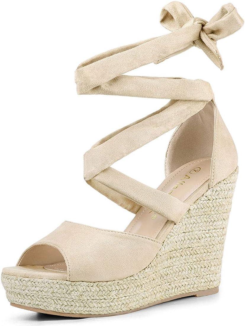 Lace Up Espadrilles Wedges Sandals