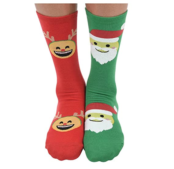 3d68ce7c1fb Amazon.com  Womens Ugly Christmas Splitz Holiday Socks - Emoji Claus ...