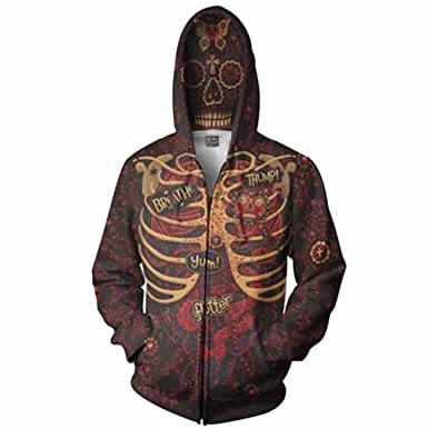 Skulls Zipper Hoodies Fashion 3D Printing Cotton Pullover Men Sweatshirts LongSleeve Casual Cotton Regular Sudaderas Hombre