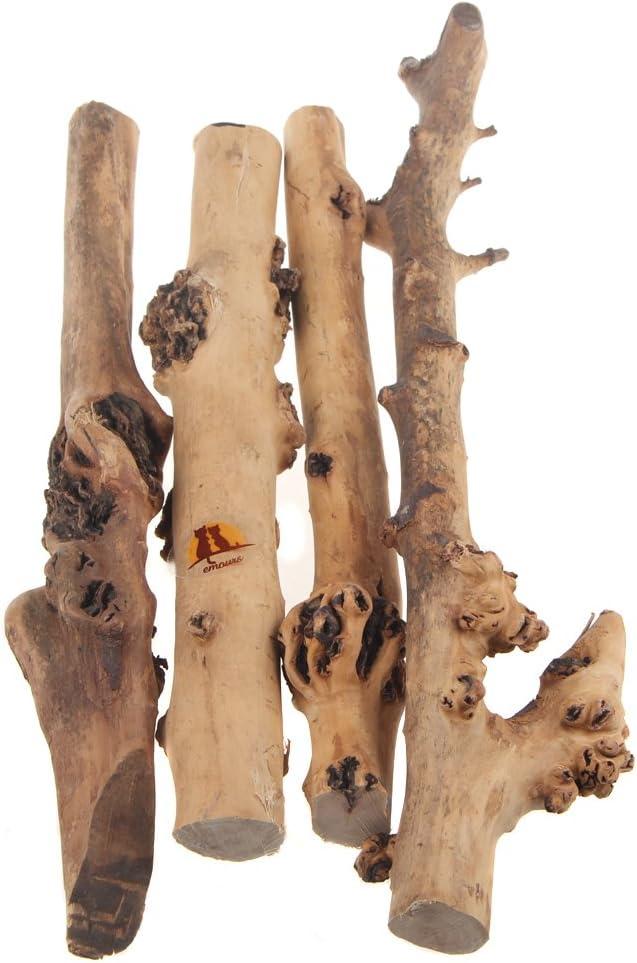 Emours Reptile Décor Natural Rama de Bosque Terrario de madera para Acuario, Adornos de Acuario, 4 unidades