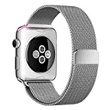 Apple Watch Bands - Mailiya Fully Strong Magnetic Closure Clasp Mesh Loop Milanese Stainless Steel Replacement Band for Apple Watch Series 2 - Series 1 - Sport - Edition - 42mm Silver