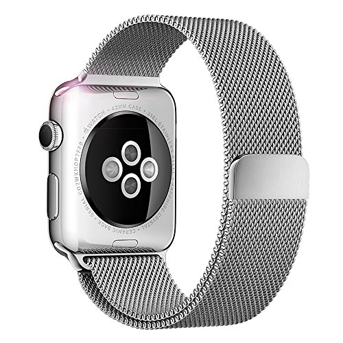 Apple Watch Bands, Mailiya Fully Strong Magnetic Closure Clasp Mesh Loop Milanese Stainless Steel Replacement Band for Apple Watch Series 2, Series 1, Sport, Edition - 42mm Silver