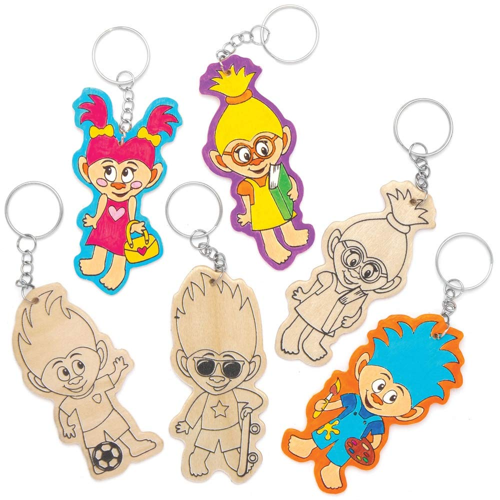 Design Your Own Kits For Kids Arts and Crafts Projects Assorted Pack of 10 Baker Ross AT887 Hairy Heads Wooden Keyrings