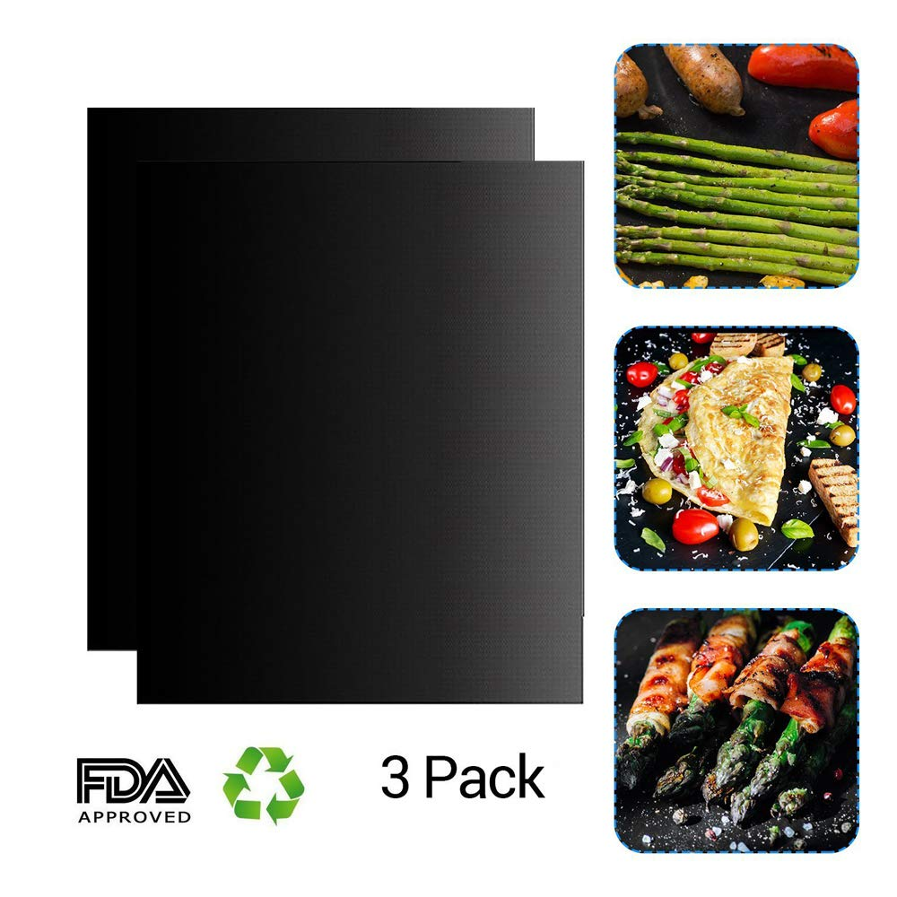 Grill Magic Non-Stick Oven Liners Reusable Easy to Clean Best BBQ Grill Mat Cut to Fit Sheets for Oven Racks Pad (3)
