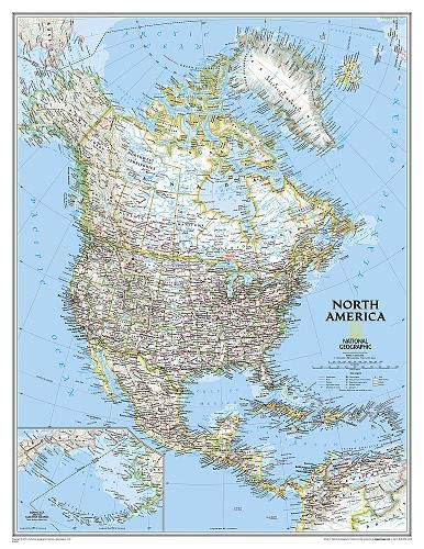 National Geographic: North America Classic Enlarged Wall Map (35.75 x 46.25 inches) (National Geographic Reference Map)