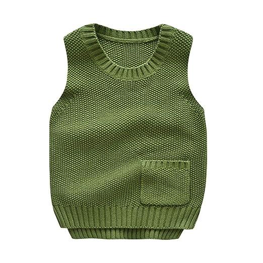 Weentop Suéteres para niños Tejido Algodón Cuello Redondo Chaleco ...