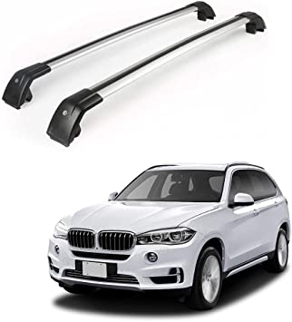 Black Cross Bar Roof Rack Fit For BMW X5 F15 2014-2018 Top Luggage Lockable