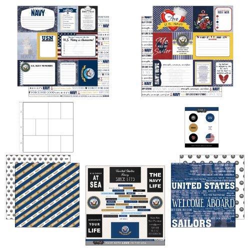 Military Scrapbook Kit (Scrapbook Customs Themed Paper and Stickers Scrapbook Kit, Navy Journal)