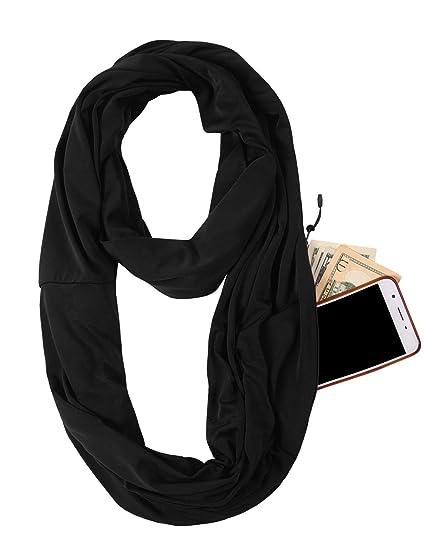 8ed661bab19cd JOKHOO Infinity Scarf Wrap with Secret Hidden Zipper Pocket, Best Travel  Scarfs (Black,