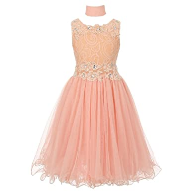 f38d06b95836f Cinderella Couture Big Girls Peach Lace Mesh Rhinestone Wired Flower Girl  Dress 8