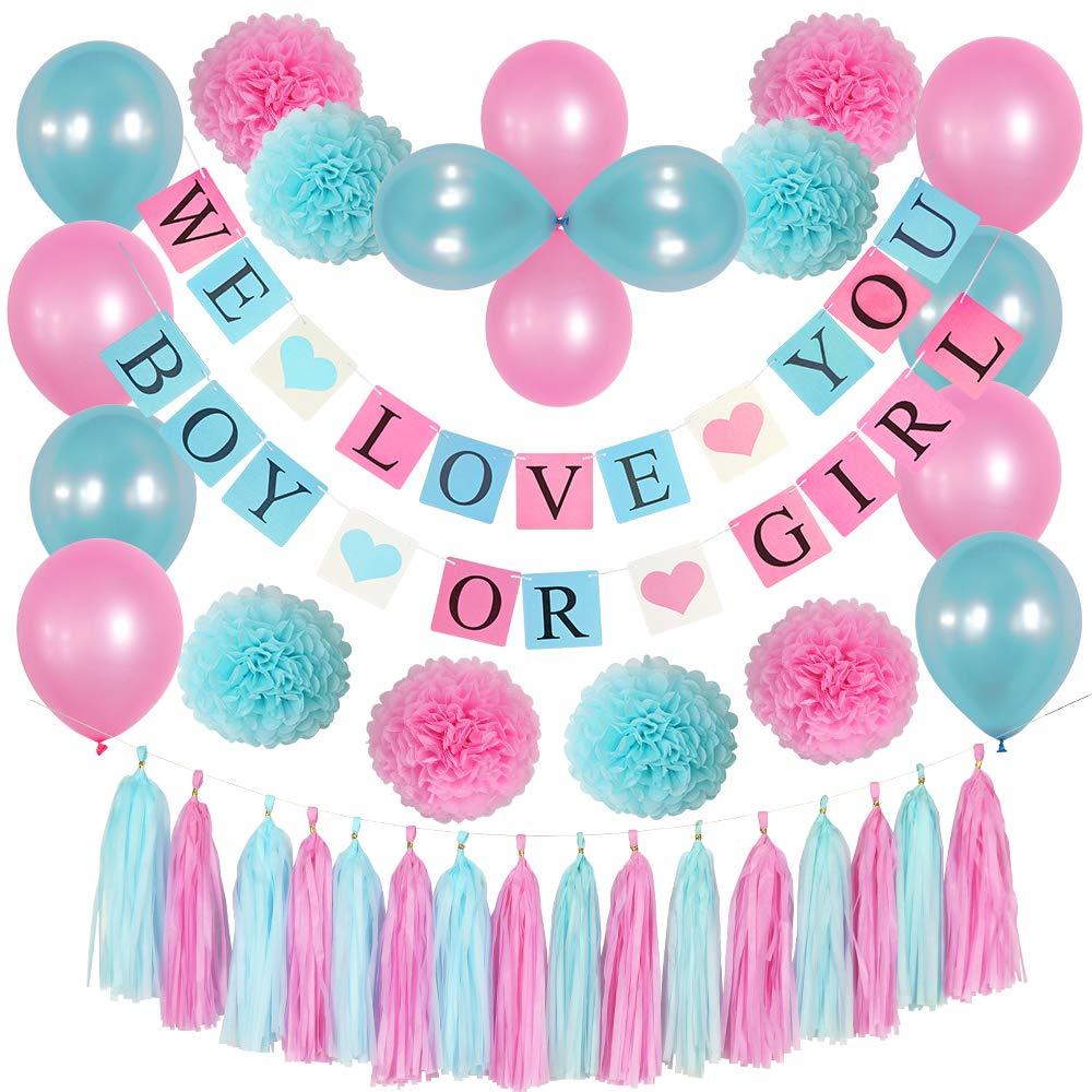 Gender Reveal Party Supplies KIT. Blue and Pink Balloon/Tissue POM POM/BOY OR Girl Banner/Pink Blue Tassel Garland/BOY OR Girl Baby Shower Decorations/Pregnancy Announcement/Pink Blue Decoration by She-Ko