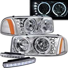 2007 Sierra Classic Halo Headlights Projector + 8 Led Fog Bumper Light