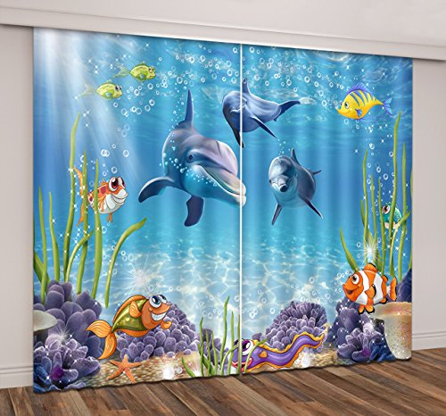 LB Teen Kids Living Room Bedroom 3D Window Curtains,Tropical Undersea with Dolphin Swimming in the Ocean Thermal Insulated Blackout Window Drapes 2 Panels Set,28 x 65 inch Length