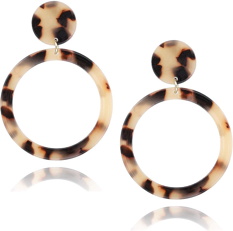 Boho 1 Pair Women Acrylic Resin Tortoise Shell Double Round Hoop Drop Earrings