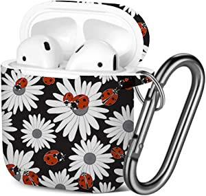[ Compatible with AirPods 2 and 1 ] Shockproof Soft TPU Gel Case Cover with Keychain Carabiner for Apple AirPods (Flowers Chamomile Ladybugs)
