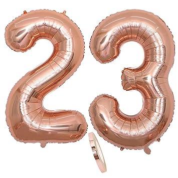2 Globos Número 23, Number 23 Globo Chica de oro rosa, 40