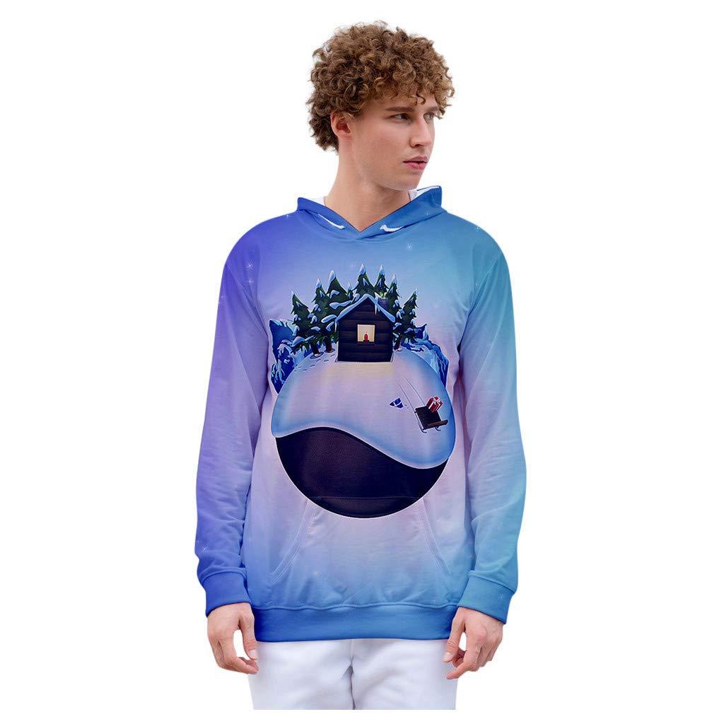 Christmas Unisex Men Women Hooded Sweatshirt Funny Print Pullover Top Blouse (M, Blue) by Suoxo Men Blouse