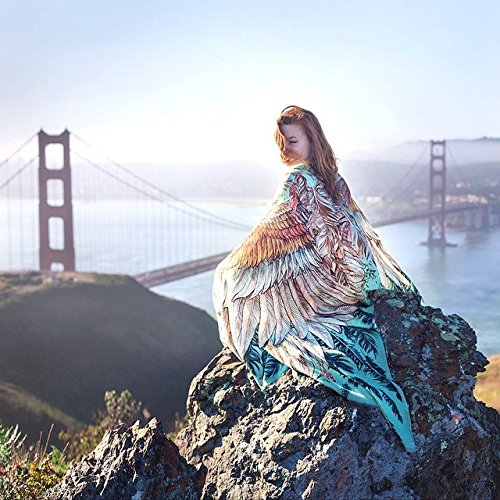Bird Feathers Scarf, Silk & Cashmere Exotic Feathers Women's Scarf, Wrap by Shovava (Image #7)
