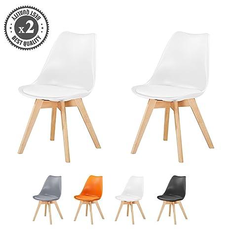 Mcc® Eva - Conjunto de 2 elegantes sillas de comedor deluxe con patas de madera y asiento acolchado blando para comedor u oficina (Color Blanco)