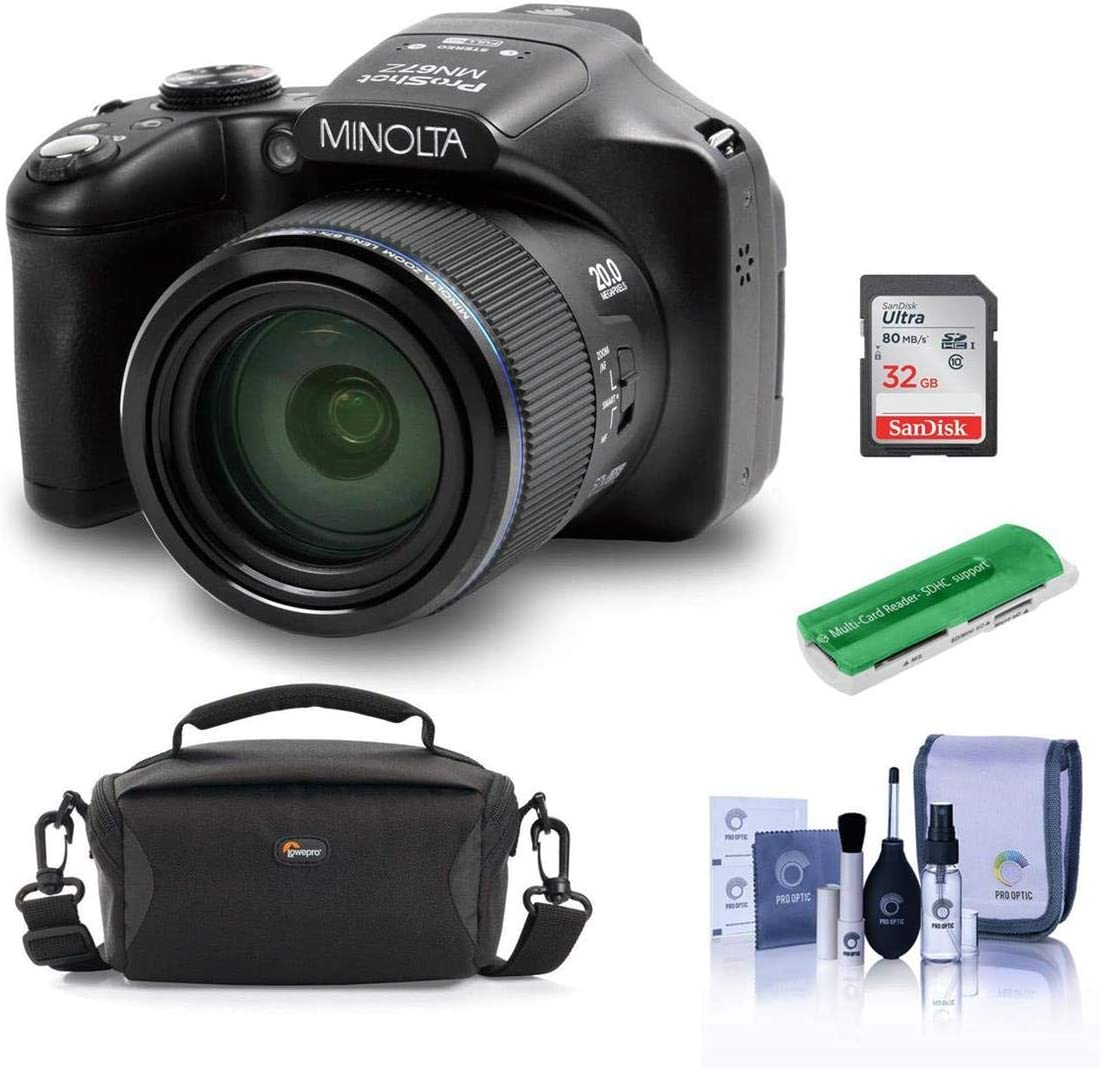 Minolta MN67Z 20MP FHD Wi-Fi Bridge Camera with 67x Optical Zoom, Black - Bundle with Camera Case, 32GB SDHC Memory Card, Cleaning Kit, Card Reader