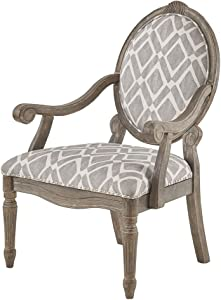 Madison Park FPF18-0442 Brentwood Accent Chairs-Birch Hardwood, Hand Carved Scroll Design Living Armchair Modern Classic Style Family Room Sofa Furniture Bedroom Lounge, Medium, Grey/White