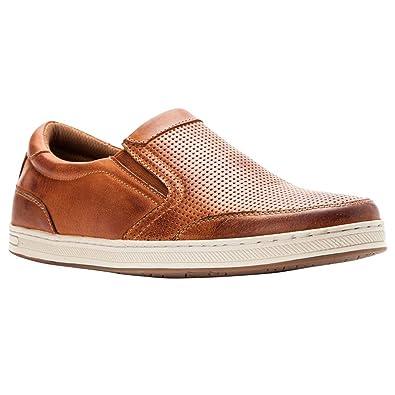 2464ddb245 Amazon.com   Propét Propet Men's Logan Nubuck, Nylon, Polyurethane, Rubber  Slip On Sneakers Brown   Fashion Sneakers