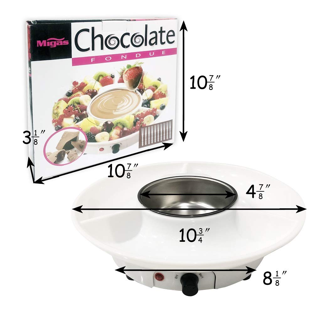 Chocolate Fondue Maker - Electric Chocolate Melting Pot Set with Stainless Steel Bowl, Serving Tray, 10 Fondue Forks by DIY (Image #4)