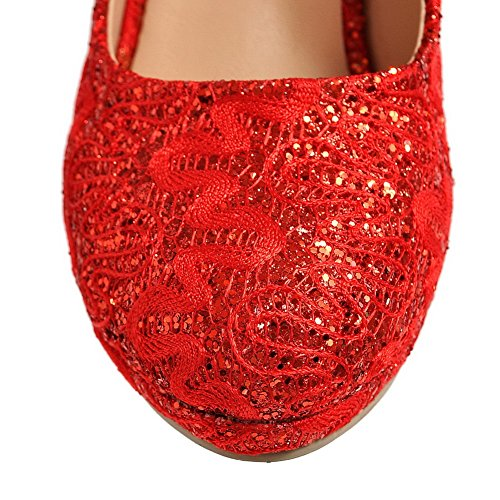 Heels AmoonyFashion High Round Toe Pull Womens Materials Blend Closed Red Shoes On Solid Pumps B1rXAw1