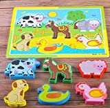 YChoice Educational Puzzle Kids Wooden Educational Puzzle Early Learning Number Shapes Color Animal Toy Fantastic Gifts Kids(Farm Animal B)