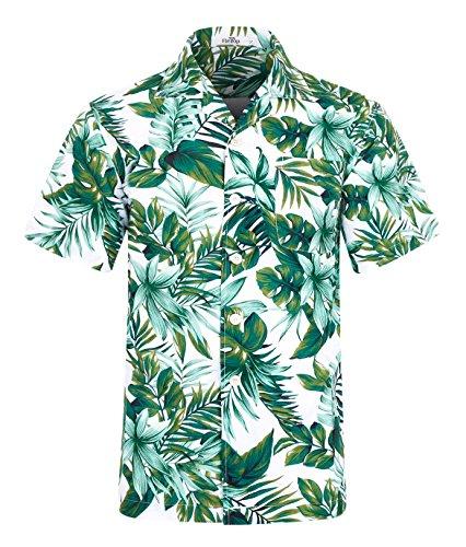 Leaves Mens Hawaiian Aloha Shirt (ELETOP Men's Hawaiian Shirt Short Sleeve Aloha Beach Party Shirt Casual Shirt Green Leaf Print XL)
