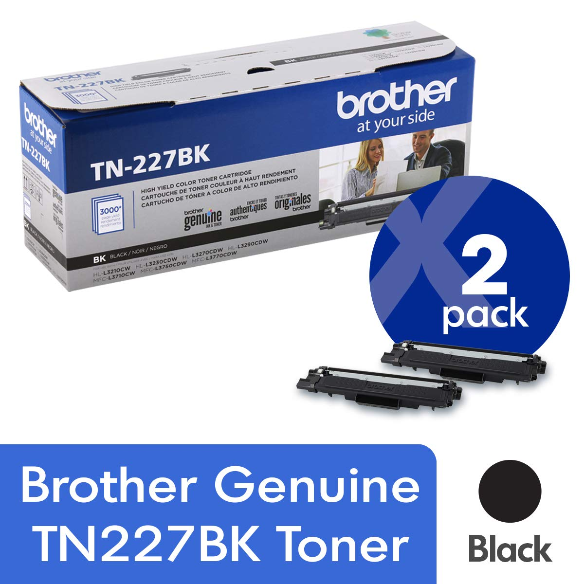 Toner Original BROTHER TN227BK 2-Pack Alta Capacidad Black con Aprox. 3,000 Páginas