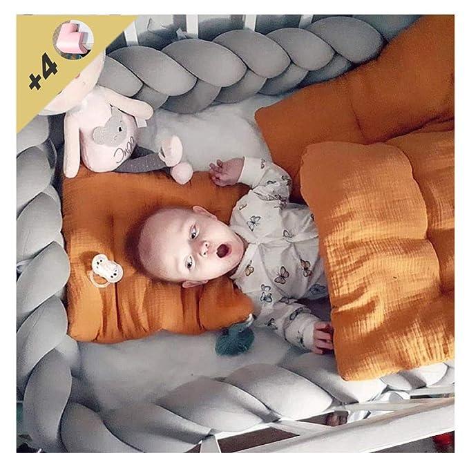 LFEWOU Protector Cuna, 4m Bebe Parachoques Cuna Longitud Protector ...