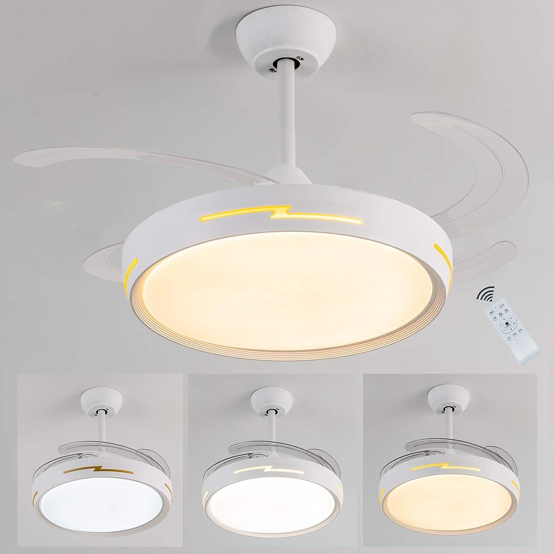 Ventilador de techo con luz led, 54W Ventilador aspas ocultas, motor DC bajo consumo silencioso, 6 velocidades 3 tonos de luz y memoria, temporizador,mando a distancia, Regulable,función inversa