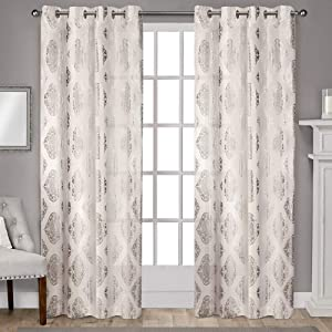 Exclusive Home Curtains Augustus Metallic Grommet Top Panel Pair, 54x96, Off-white, 2 Piece