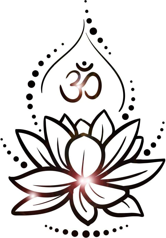 Large Vinyl Wall Decal Lotus Flower Yoga Hinduism Hindu Om Symbol Stickers Large Decor (ig4625) Orange