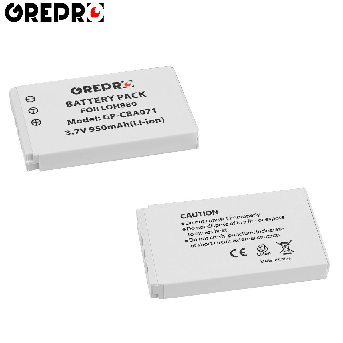 Grepro LOH880 Battery(2 Packs) Compatible with Logitech Harmony 880 890 720 850 785 885 Pro 895 900 One MX-880 R-IG7 F12440023 815-000037 190304-2000 190304-0000 866165 866145 866207 Monster AVL300 by GREPRO