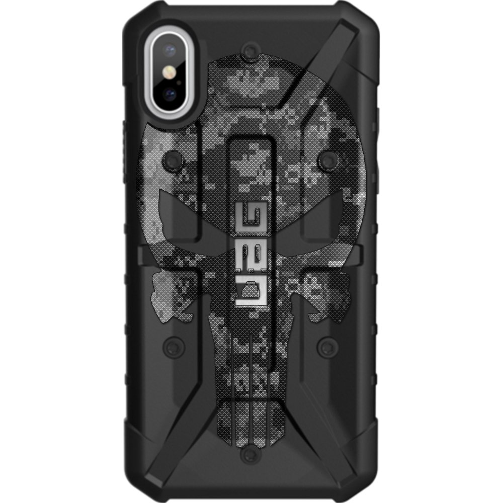 Limited Edition - Customized Designs by Ego Tactical Over a UAG- Urban Armor Gear Case for Apple iPhone X/Xs (5.8'')- Black Ops Subdued Digital Camouflage Punisher