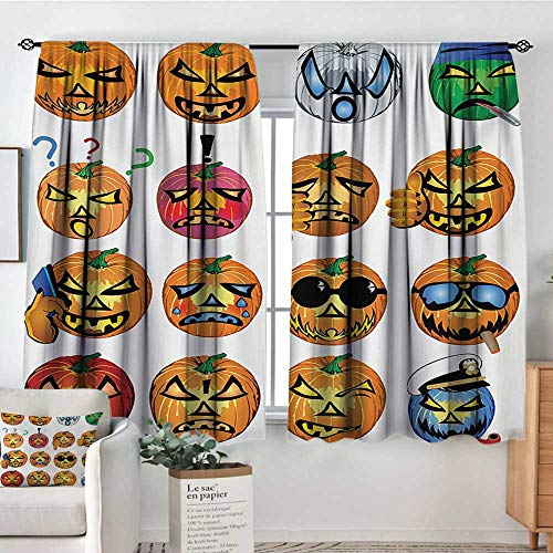 Halloween Waterproof Window Curtain Carved Pumpkin with Emoji Faces Halloween Inspired Humor Hipster Monsters Artwork Blackout Draperies for Bedroom 63